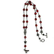 Image of Gothic Rosary Necklace - Red Glass and Sterling Silver