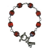 Image of Gothic Raven Bracelet - Red Glass and Sterling Silver