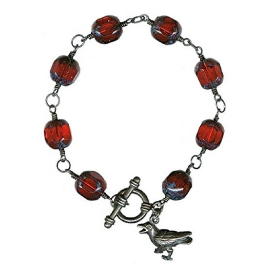 Image of TEMPORARILY SOLD OUT - Gothic Raven Bracelet - Red Glass, Sterling Silver