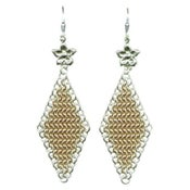Image of Chainmaille Earrings with Flower - 14k Gold Fill, Sterling Silver