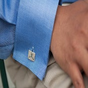 Image of Rectangular Sterling silver cufflink (polished finish)