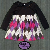 Image of **SOLD OUT** Black & Purple Argyle Pleated Dress – Size 18-24m/2T