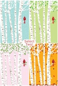 Image of Any 2 Cardinal Seasons Silkscreen Birches Art Prints