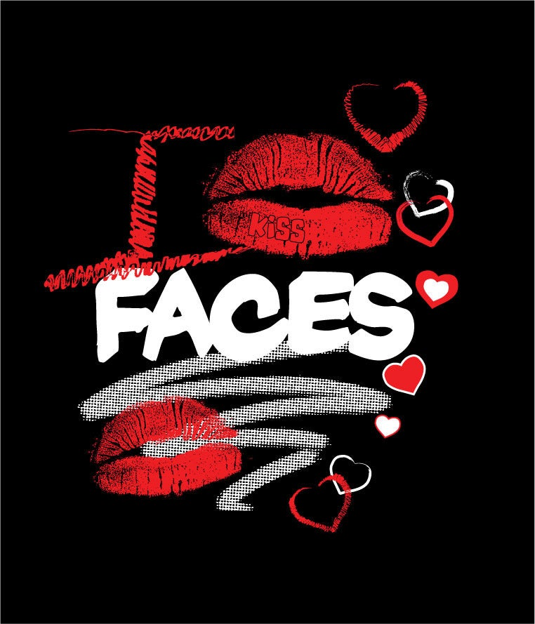 """Image of """"I KISS FACES""""  Blk/Red T-shirt!!!"""