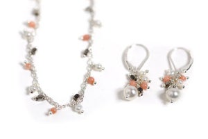 Image of Silver White Pearl and Coral Cluster Necklace and Earrings
