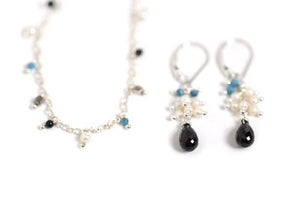 Image of Silver, Turquoise and Pearl Necklace and Spinel Cluster Earrings