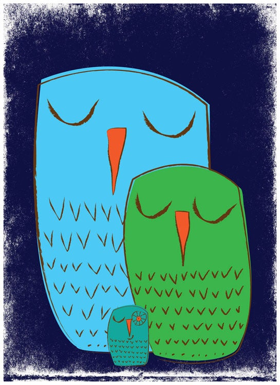 Image of We 3 Owls Goodnight Nursery Art Print