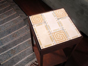 Image of Ochre and creme night stand