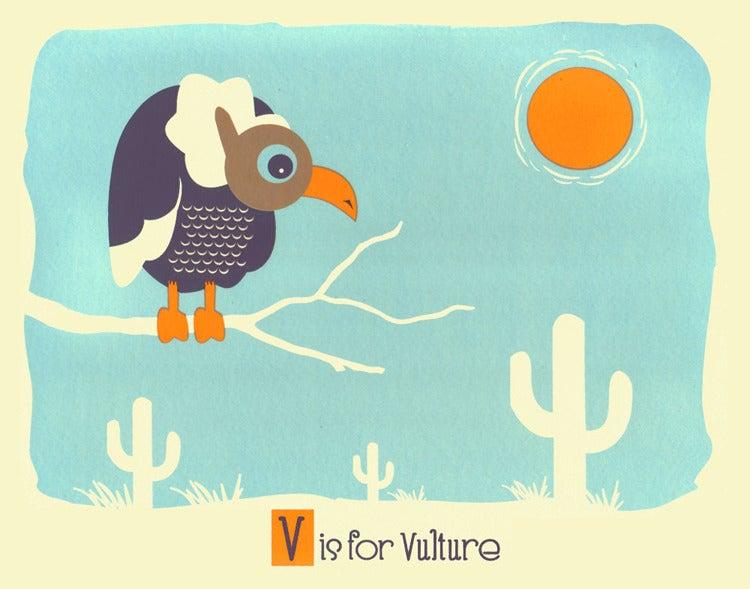 Image of V is for Vulture Alphabet Nursery Print