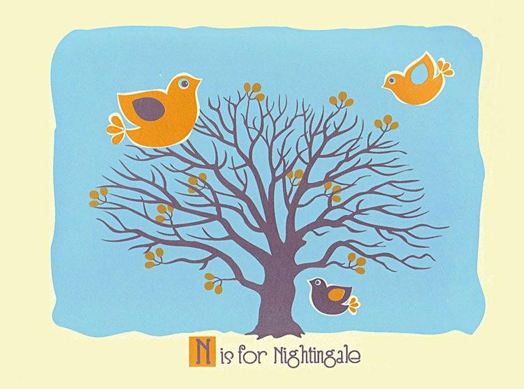 Image of N is for Nightingale Alphabet Nursery Print