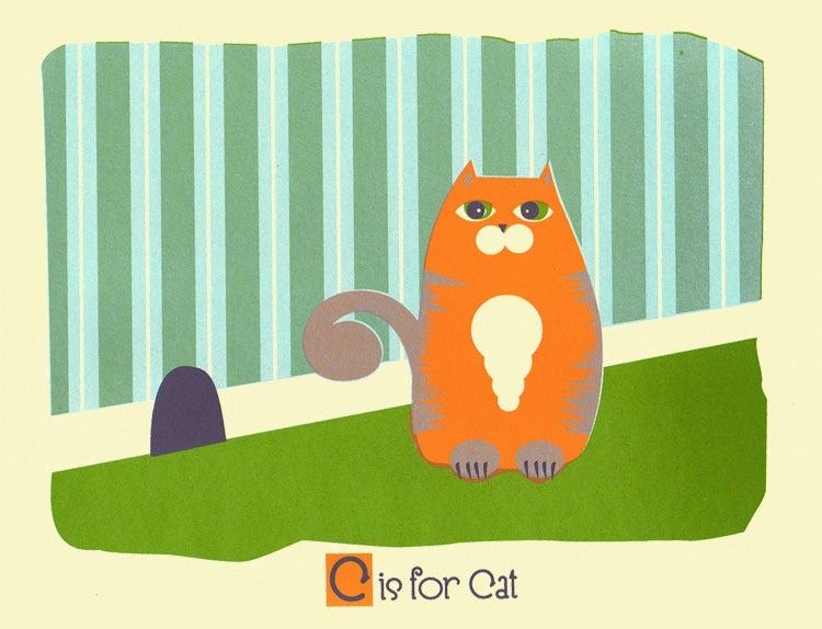 Image of C is for Cat Alphabet Nursery Print