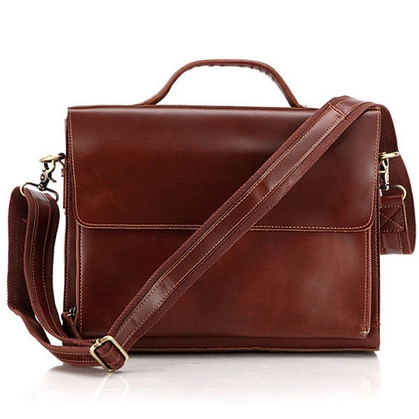 "Image of Handmade Genuine Leather Briefcase Messenger Bag 14"" Laptop / 13"" MacBook Case (n56)"