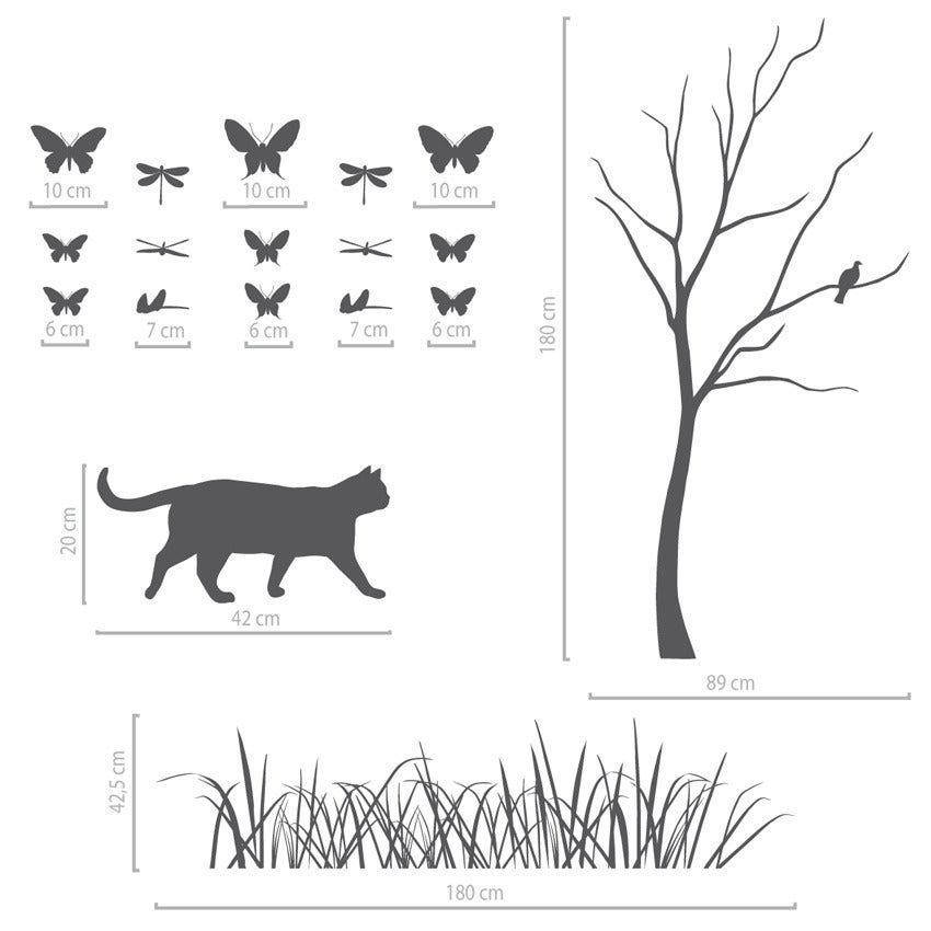 Image of Wandtattoo groß, Sommerlandschaft Wiese, Baum, Katze, Schmetterlinge und Libellen