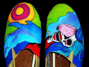 Image of Hand Painted Assailants Album Art Canvas Shoes (GIRLS)