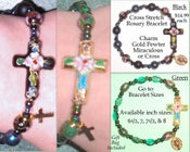 Image of  Cross Cloisonee Stretch Rosary Bracelet