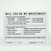 "Image of ""The Contract"" Will You Be My Bridesmaid Cards"