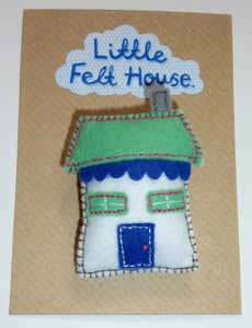 Image of Little Felt House Brooch (Turquoise and Blue)
