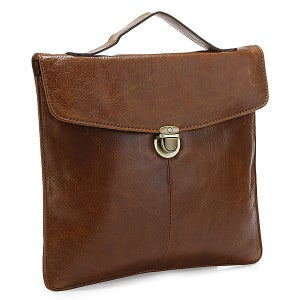 Image of Handmade Antique Leather iPad Bag Messenger Bag in Brown (n60)