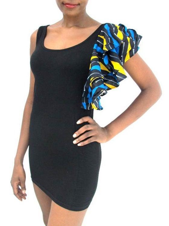 Image of The 'NAKSHI' Ruffle Sleeve Dress (Blue|Yellow)