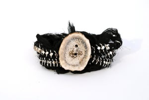 Image of Sari Silk Wrap Bracelet, Silver and Black
