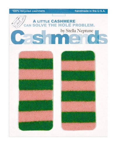 Image of Iron-on Cashmere Elbow Patches -Pink & Green- Limited Edition!