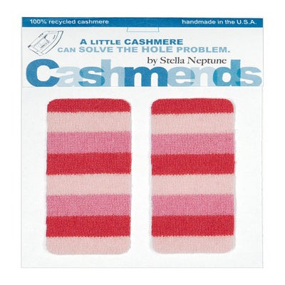 Image of Iron-on Cashmere Elbow Patches  - PINK STRIPES - Limited Edition!