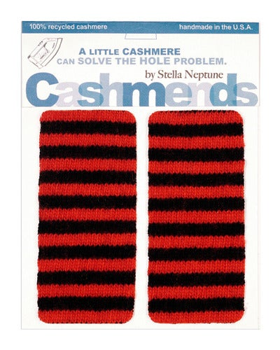Image of Iron-On Cashmere Elbow Patches - Red & Black - Limited Edition!