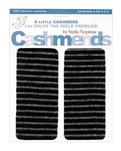 Image of Iron-On Cashmere Elbow Patches- Grey & Black - Limited Edition!