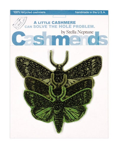 Image of Iron-on Cashmere Moths - Triple Green