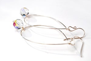 Image of Large Silver Hoop Earrings, Vintage Swarovski Crystal Hoops