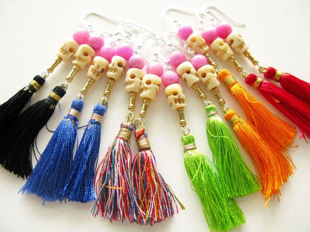 Image of Tassel Skull Earrings
