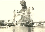 Image of Godzilla Gaia  at Tower Bridge  Pop Surreal SteamPunk High Quality Silkscreen Print Art Surrealism