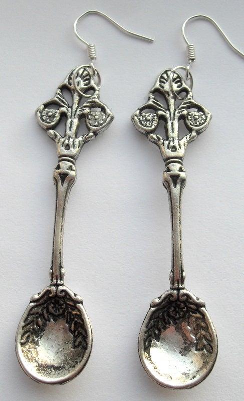 Image of Alice in Wondeland Silver Snuff Spoon teaspoon Earrings