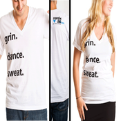 Image of grin.dance.sweat. on white American Apparel V-neck