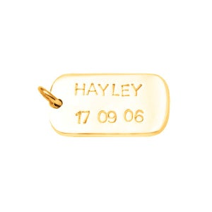 Image of 9ct Gold Dog Tag - Custom Name & Date