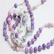 Image of Personalized First Communion Rosary in purple & pink