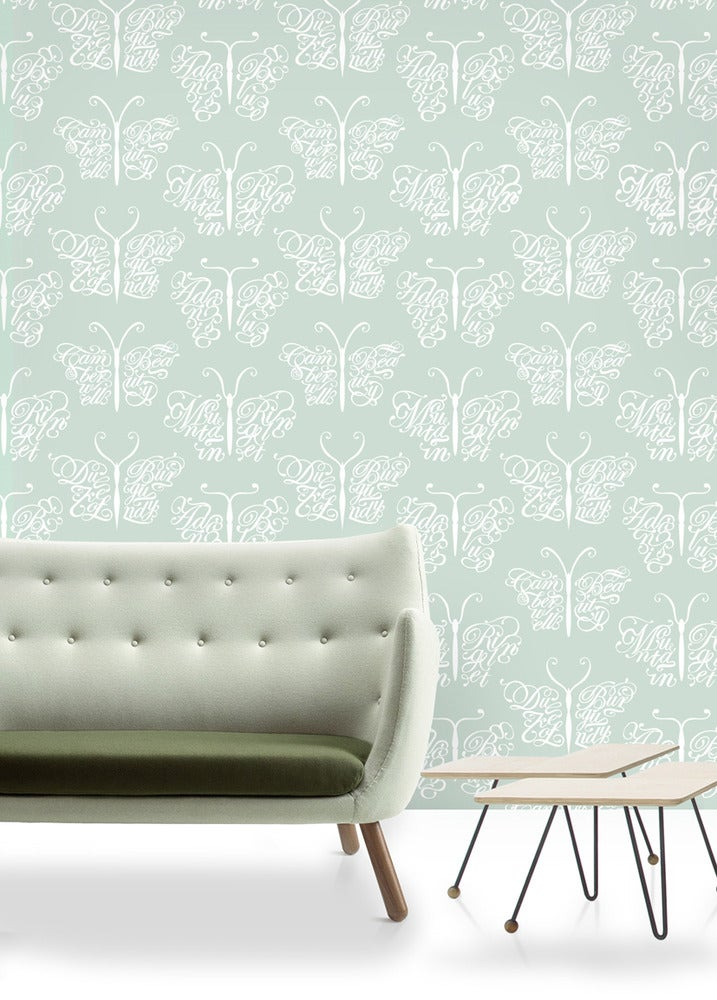 Image of Camberwell Beauty Wallpaper - Pale Verdigris