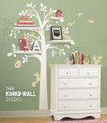 Image of NEW Shelf Tree with Birds & Squirrels - vinyl sticker wall decal with shelves - KK125 - Children Bab