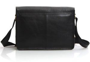 Image of Handmade Genuine Leather Messenger Satchel iPad Bag in Black (n50-2)