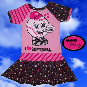 Image of **SOLD OUT** I Love Softball Dress - Size 8/9/10