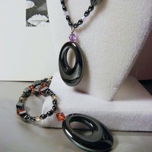 Image of Black Licorice Swarovski Necklace
