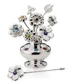 Image of Miniature Vase with Bouquet of Stick Pins