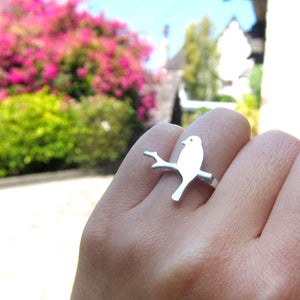 Image of Alighted Bird Ring - Handmade Silver Rings - Straight