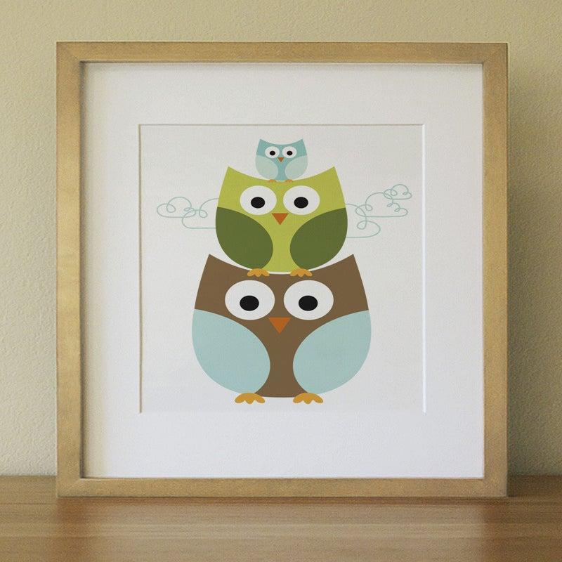 Lulliloola — Stacking owl . Baby Nursery Wall Art . Children Wall Art
