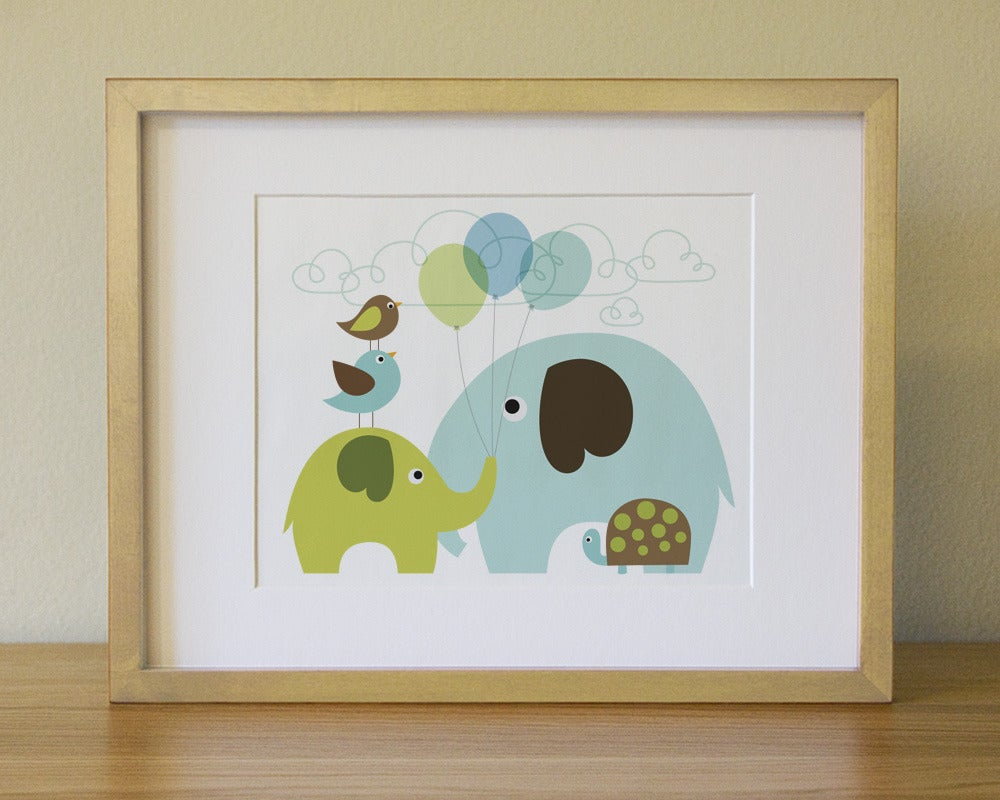 Wall art elephant - Baby Elephant And His Balloons Baby Nursery Wall Art Children Wall Art