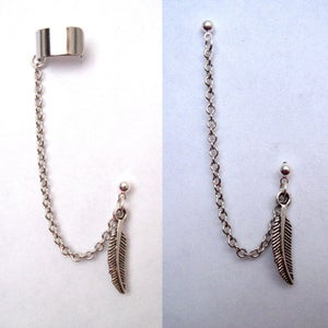 Image of Single Feather Chain with Double Piercing or Earring Cuff