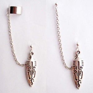 Image of Single Silver Tribal Arrowhead Chain with Double Piercing or Earring Cuff