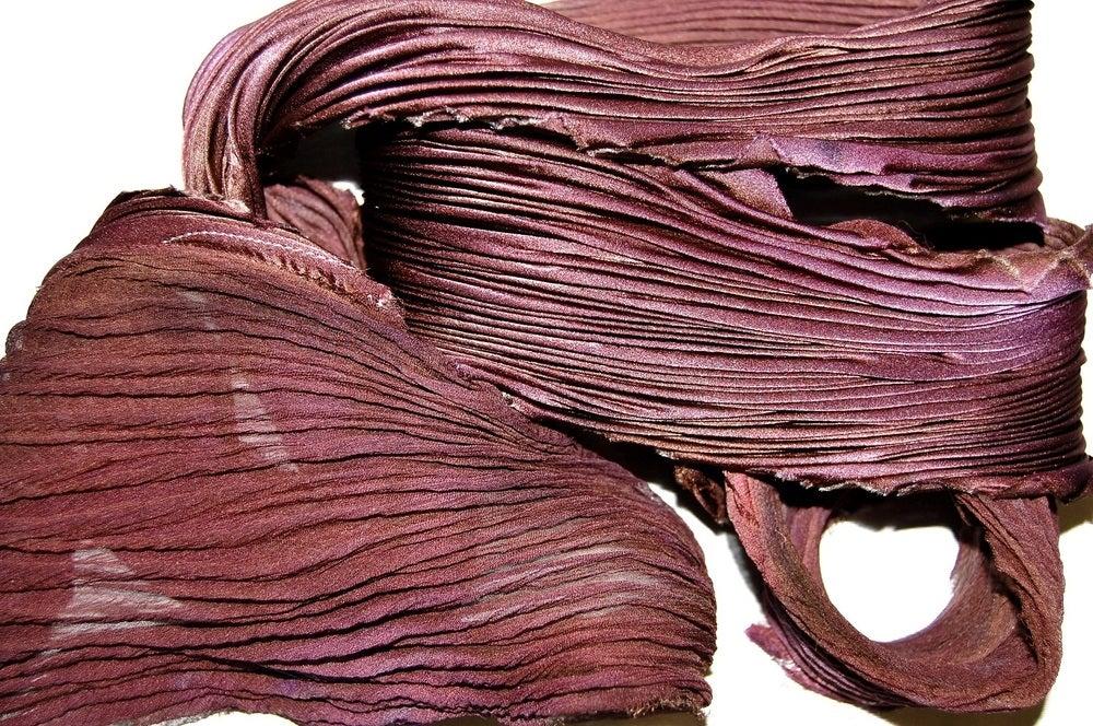 Image of Eggplant Silk Shibori Scarf - Handpainted Silk Shibori
