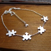 Image of Puzzle Necklace For Autism - 50% Sales go to Autism Society - Handmade Sterling Silver