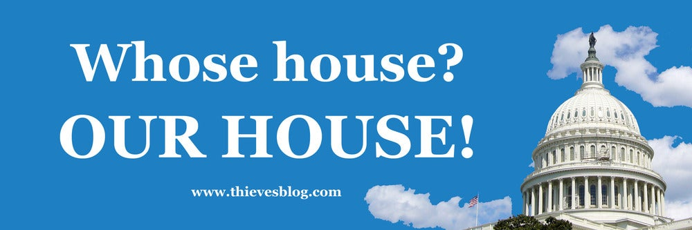 """Image of """"Whose house?"""" bumper sticker"""